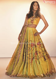 Pakistani Mehndi Ghagra Choli with Embroidery Front Look