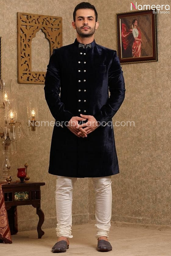 Pakistani Navy Blue Sherwani for Groom Online Front Look