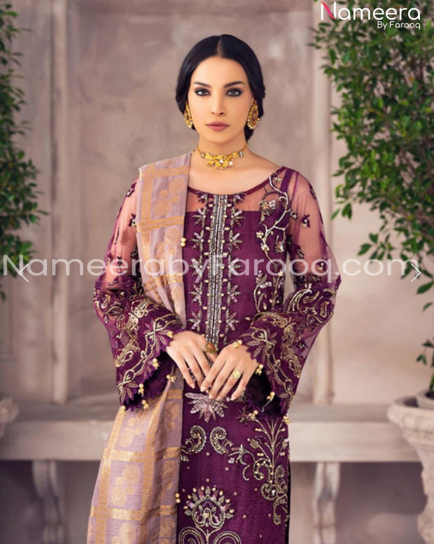 Pakistani Net Embroidered Party Dress closeup View