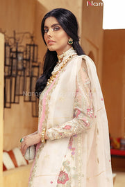 Pakistani Off White Party Dress with Embroidery Side Look