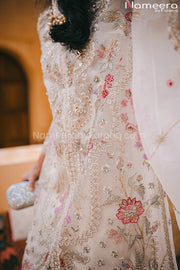 Pakistani Off White Party Dress with Embroidery Neckline Embroidery