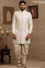 Pakistani Off White Simple Sherwani for Groom