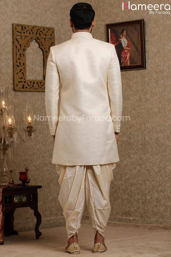 Pakistani Off White Simple Sherwani for Groom Backside View