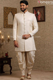 Pakistani Off White Simple Sherwani for Groom Second Look