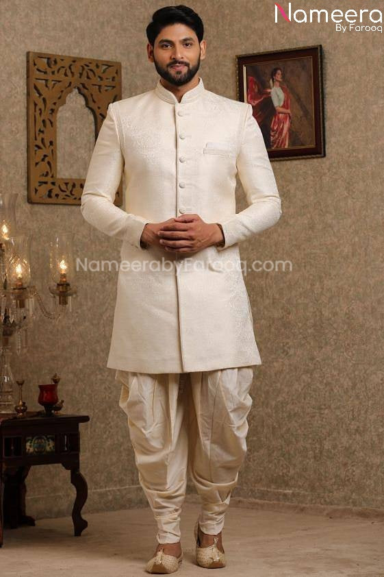 Pakistani Off White Simple Sherwani for Groom Front Look