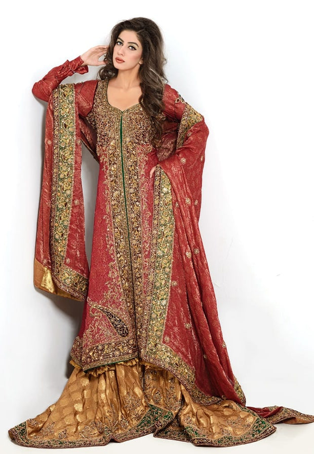 Pakistani Open Shirt Lehnga in Red Color