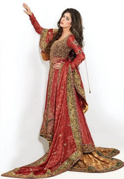 Pakistani Open Shirt Lehnga in Red Color Side Pose