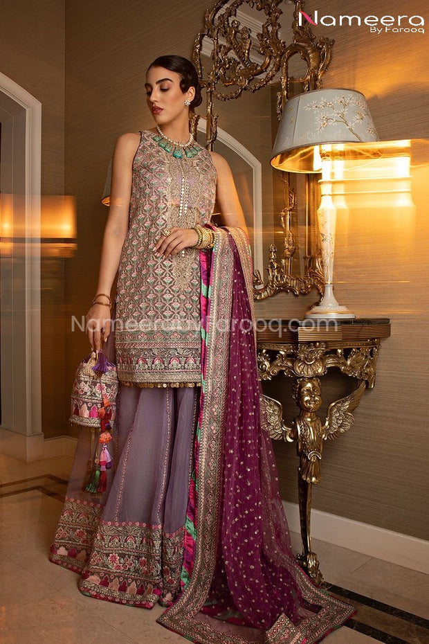 Pakistani Party Sharara Kurti with Embroidery