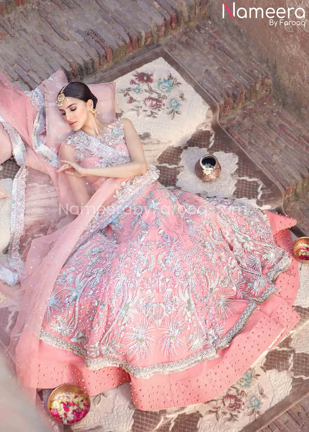 Pakistani Pink Lehenga for Bride with Embroidery
