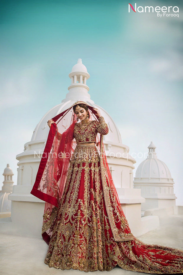 Pakistani Red Bridal Lehenga