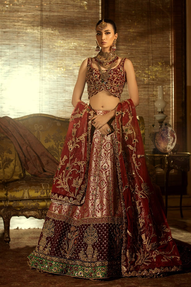 Pakistani Royal Wedding Dress in Maroon Color