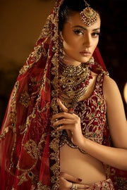 Pakistani Royal Wedding Dress in Maroon Color Close Up