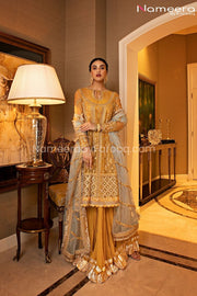 Pakistani Sharara Suit for Mehndi Party Online Front Look