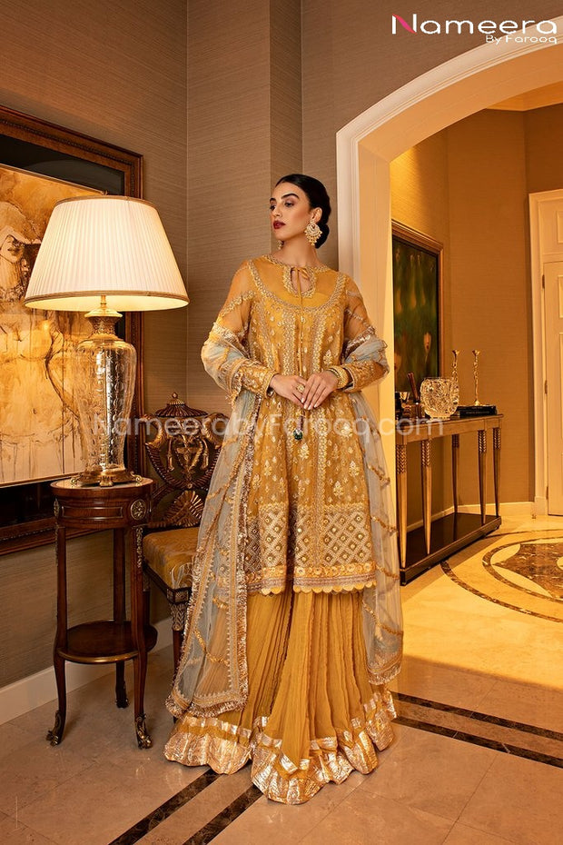 Pakistani Sharara Suit for Mehndi Party Online