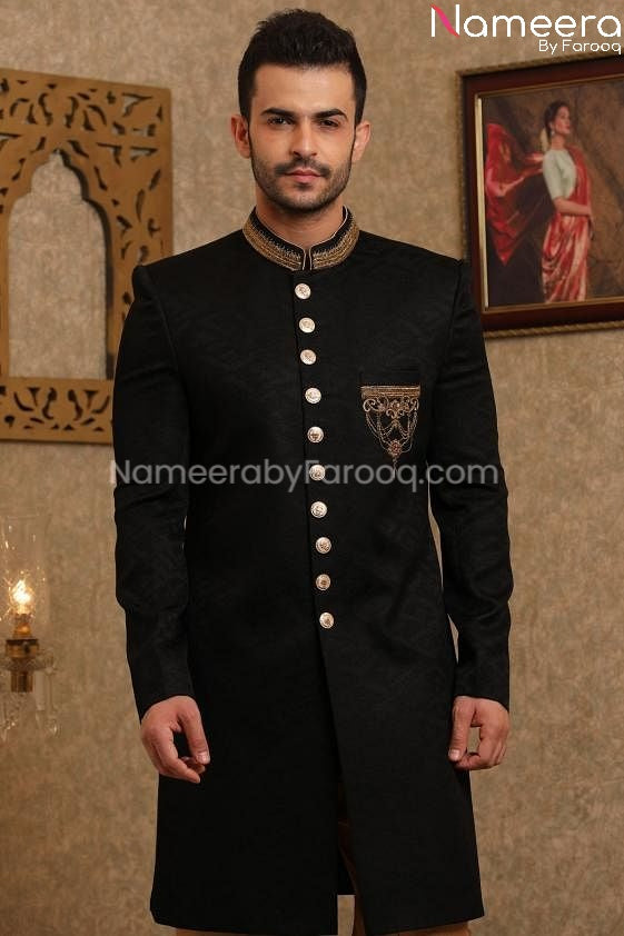 Pakistani Sherwani Black for Groom Online 2021 close up view