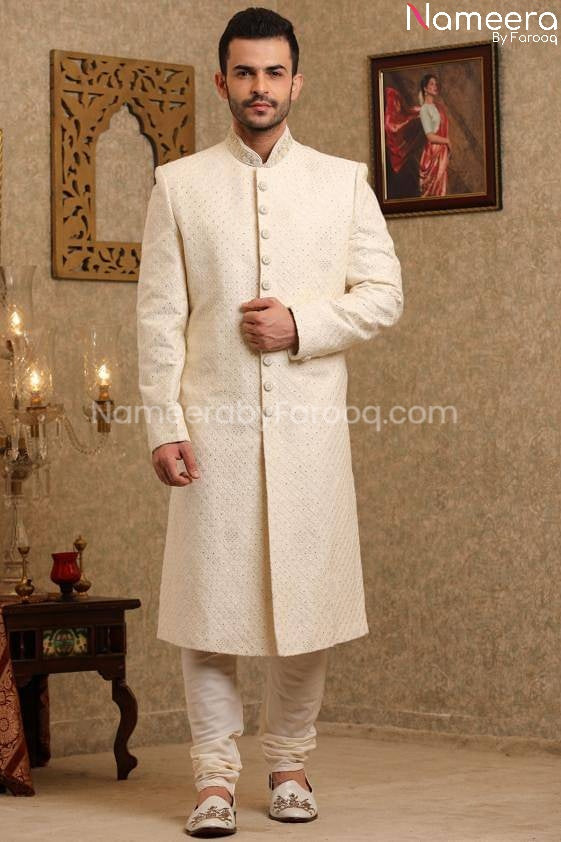 Pakistani Sherwani Wedding in Off White Color Front Look