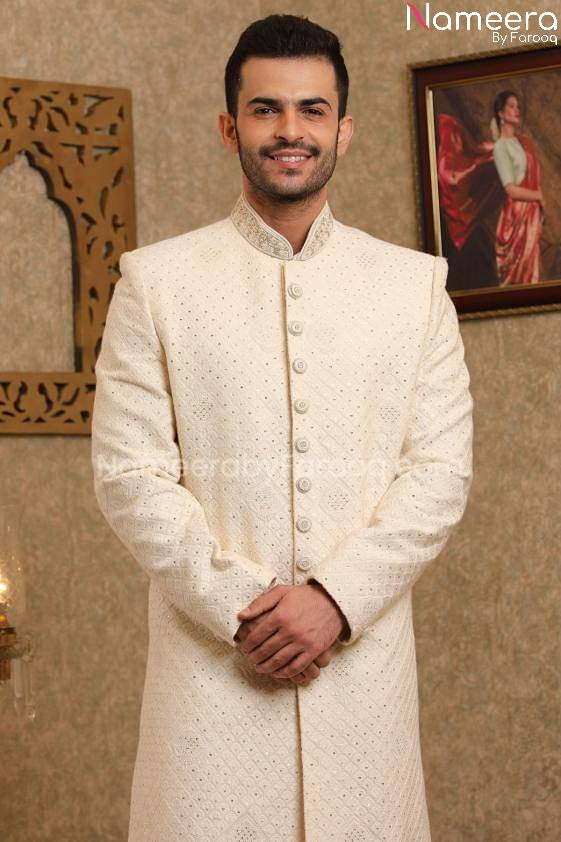 Pakistani Sherwani Wedding in Off White Color Close Up View