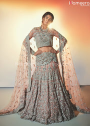 Pakistani Silver Lehenga Choli for Bridal Online Front Look