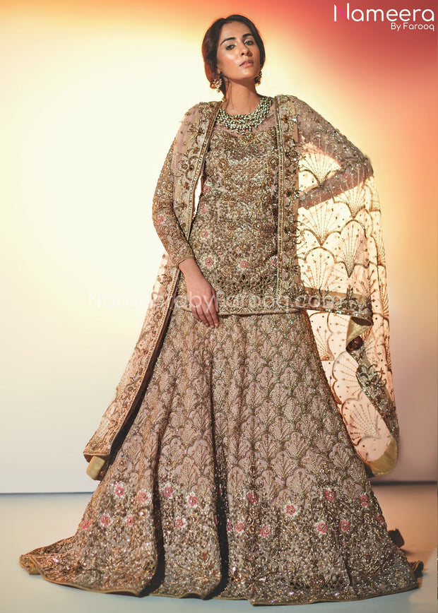 Pakistani Lehenga with Short Kurti for Bridal
