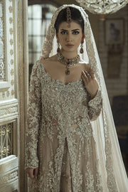 Pakistani Walima Bridal Dress in Ivory Color Close Up