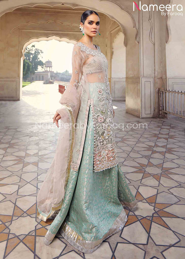 Pakistani Walima Dress for Girl with Dabka Work