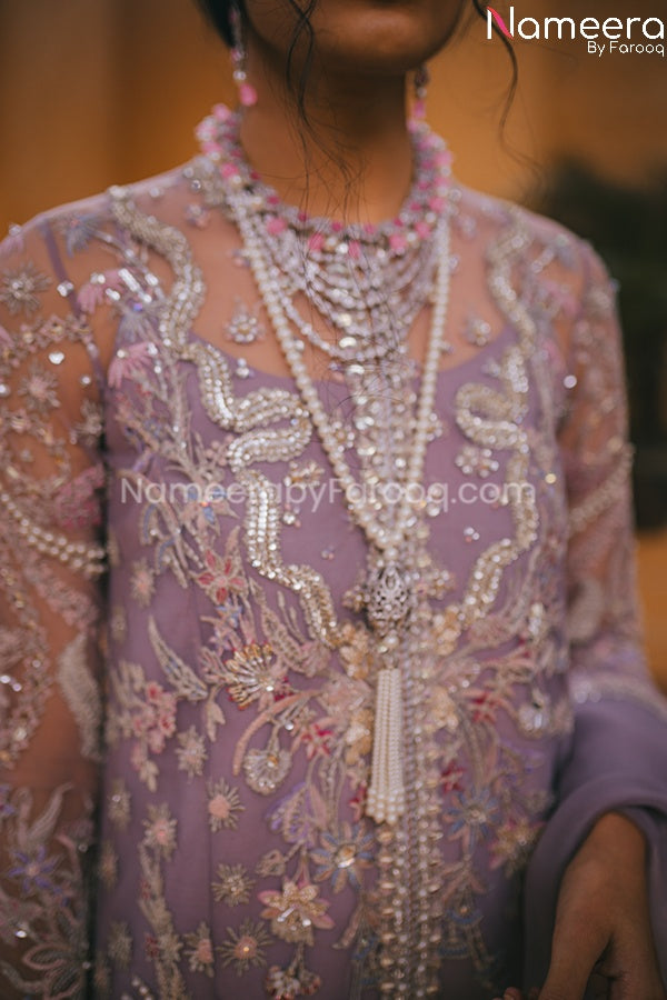 Pakistani Wedding Party Dress for Ladies Neckline Embroidery
