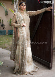Pakistani Wedding Dress in Net Sharara Design