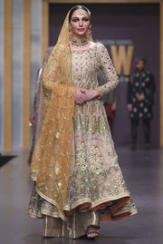Pakistani Bridal Anarkali Froke in Gold Color for Wedding Frontlook