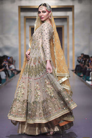 Pakistani Bridal Anarkali Froke in Gold Color for Wedding SideLook