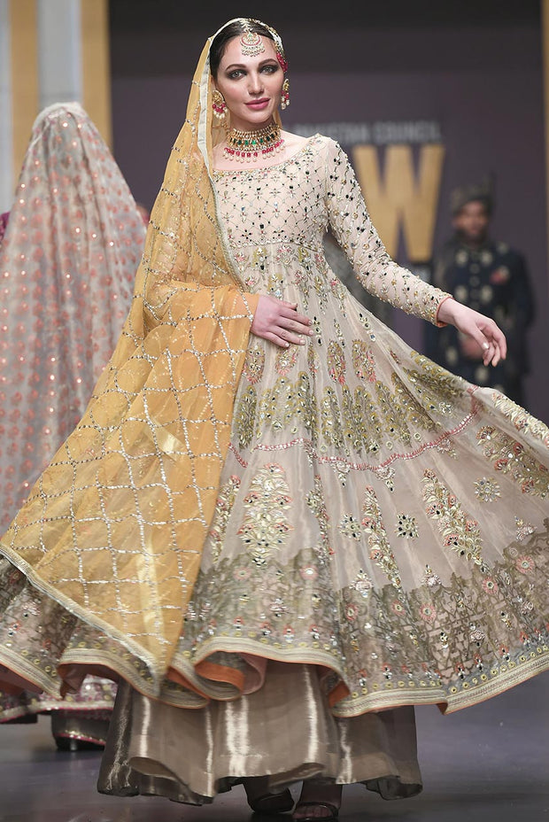 Pakistani Bridal Anarkali Froke in Gold Color for Wedding