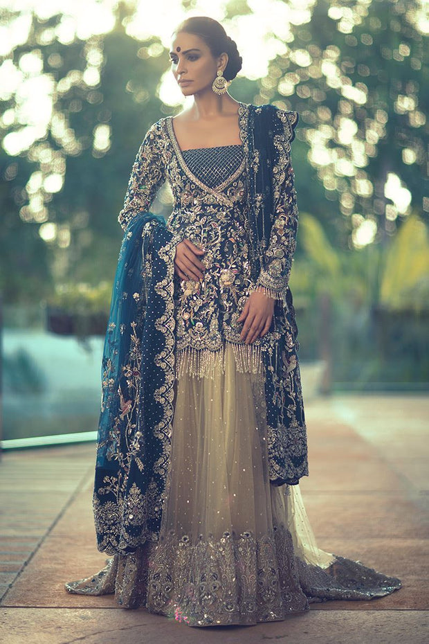 Royal Blue Pakistani Bridal Dress for Walima