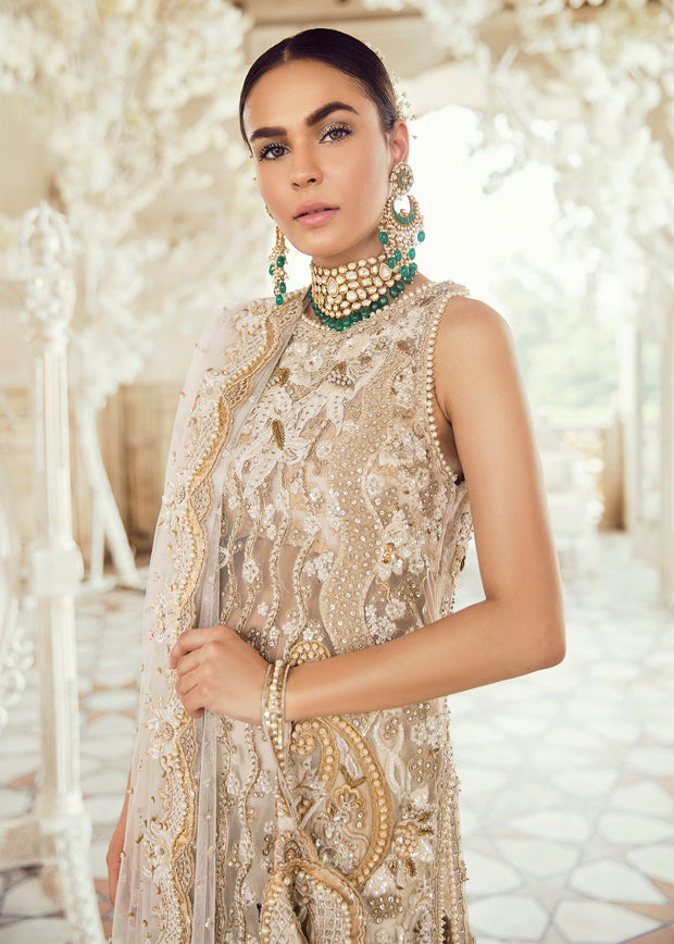 Pakistani Bridal Dress for Wedding in Ivory Color Close Up
