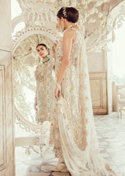 Pakistani Bridal Dress for Wedding in Ivory Color Backside View