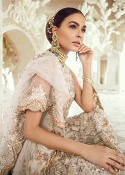 Pakistani Bridal Dress for Wedding in Ivory Color Side Pose