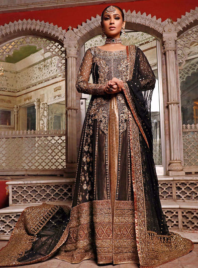 Pakistani Bridal Dress in Black Color for Wedding
