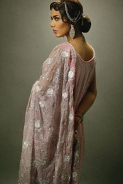 Pakistani Bridal Dress  in Grey Color for Wedding Backside View