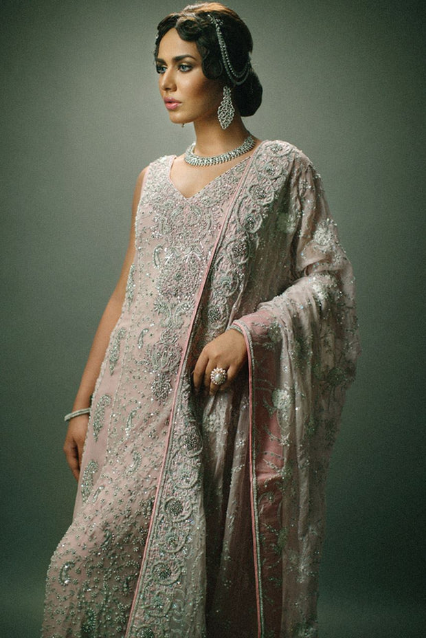 Pakistani Bridal Dress  in Grey Color for Wedding Front Look