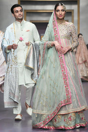 Pakistani Bridal Froke in Blue Color for Wedding Front Look