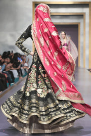 Pakistani Bridal Froke with Pink Shawl for Wedding  Backside View