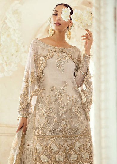 Pakistani Bridal Gharara for Wedding in Ivory Color