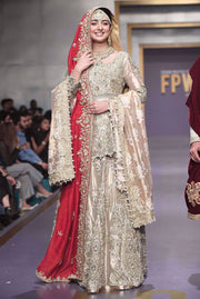 Pakistani Bridal Gold Peplum and Lehnga for Wedding Complete Look