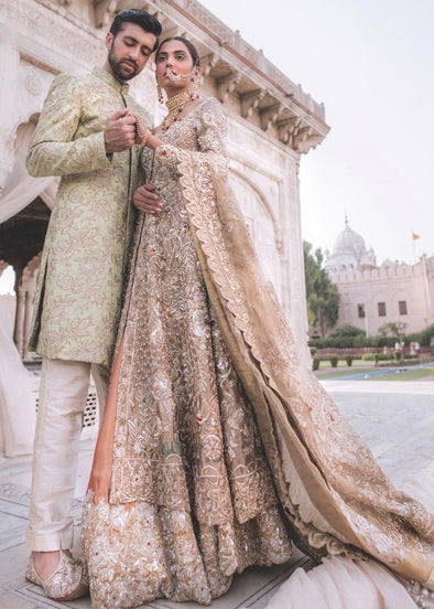 Pakistani Bridal Gown Dress for Wedding in Gold Color