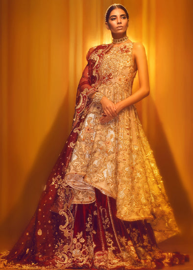 Pakistani Bridal Gown with Lehnga for Wedding