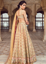 Pakistani Bridal Lehnga Choli in Light Pink Color Backside View