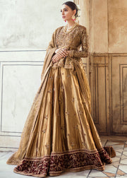 Pakistani Bridal Lehnga Shirt in Golden Color for Wedding Front Look