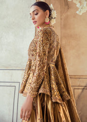 Pakistani Bridal Lehnga Shirt in Golden Color for Wedding Backside View