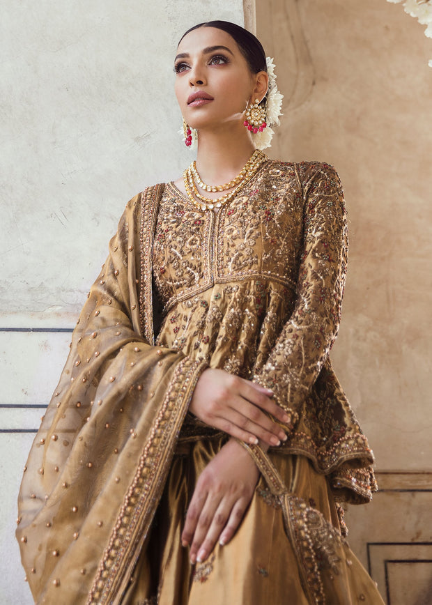 Pakistani Bridal Lehnga Shirt in Golden Color for Wedding