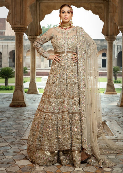 Pakistani Bridal Lehnga in Brown Color for Wedding