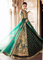 Pakistani Bridal Lehnga in Emerald Green for Wedding Side Pose