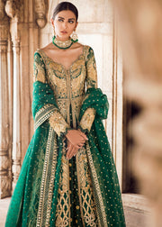 Pakistani Bridal Lehnga in Emerald Green for Wedding Front View